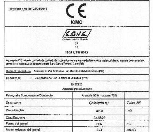 certificazione materiale usato nel 2013